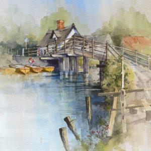 flatford mill bridge - watercolour - 14in x 17in - £ 395
