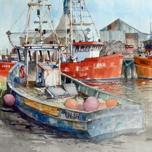 in brancaster staithe norfolk - watercolour - 17in x 13 in - £300