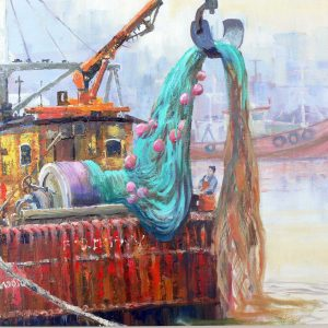 cleaning nets bridlington - acrylic on canvas -20in x 16in - £400