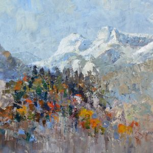 first snow on langdales - oil on canvas - 20in x 16in -£450