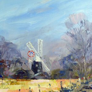 Thelnetham windmill - oil on board - 10in x 7in - £130